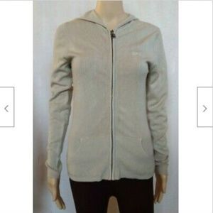 BCBGMaxazria tan hooded zip up sweater jacket